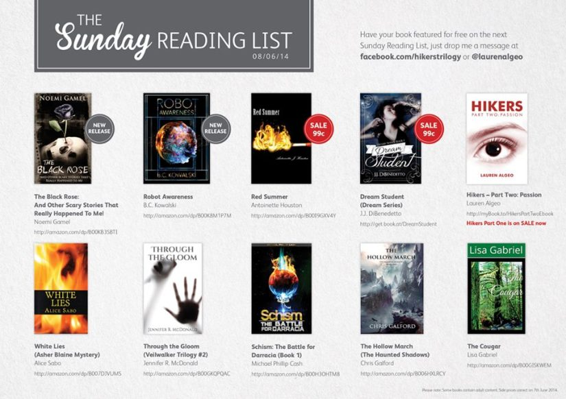 Sunday Reading list lauren algeo author ebook promo